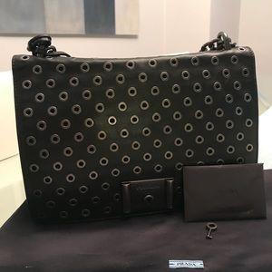Prada  Black Grommet Chain Bag